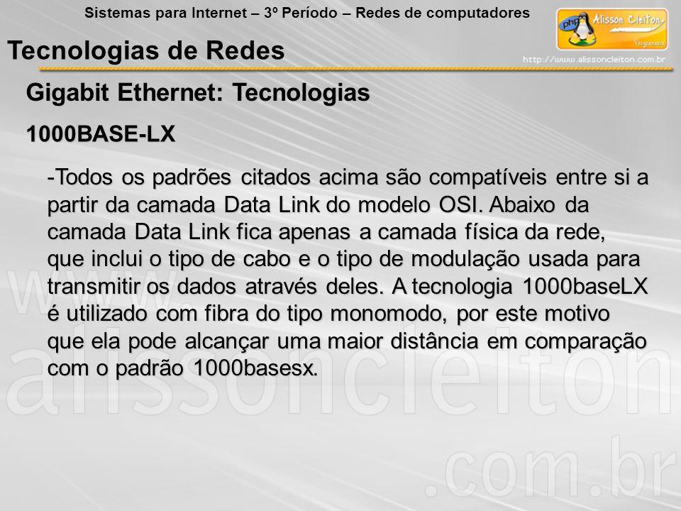 Tecnologias de Redes Gigabit Ethernet: Tecnologias 1000BASE-LX