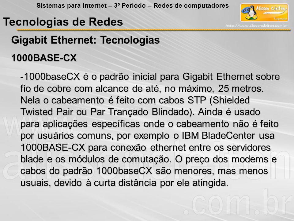 Tecnologias de Redes Gigabit Ethernet: Tecnologias 1000BASE-CX