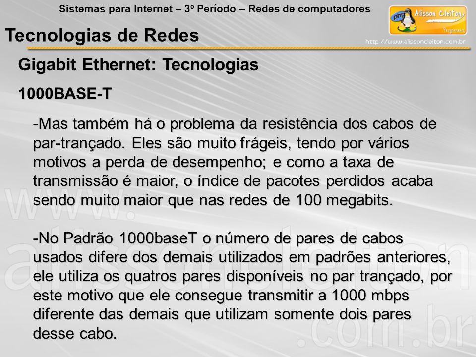 Tecnologias de Redes Gigabit Ethernet: Tecnologias 1000BASE-T