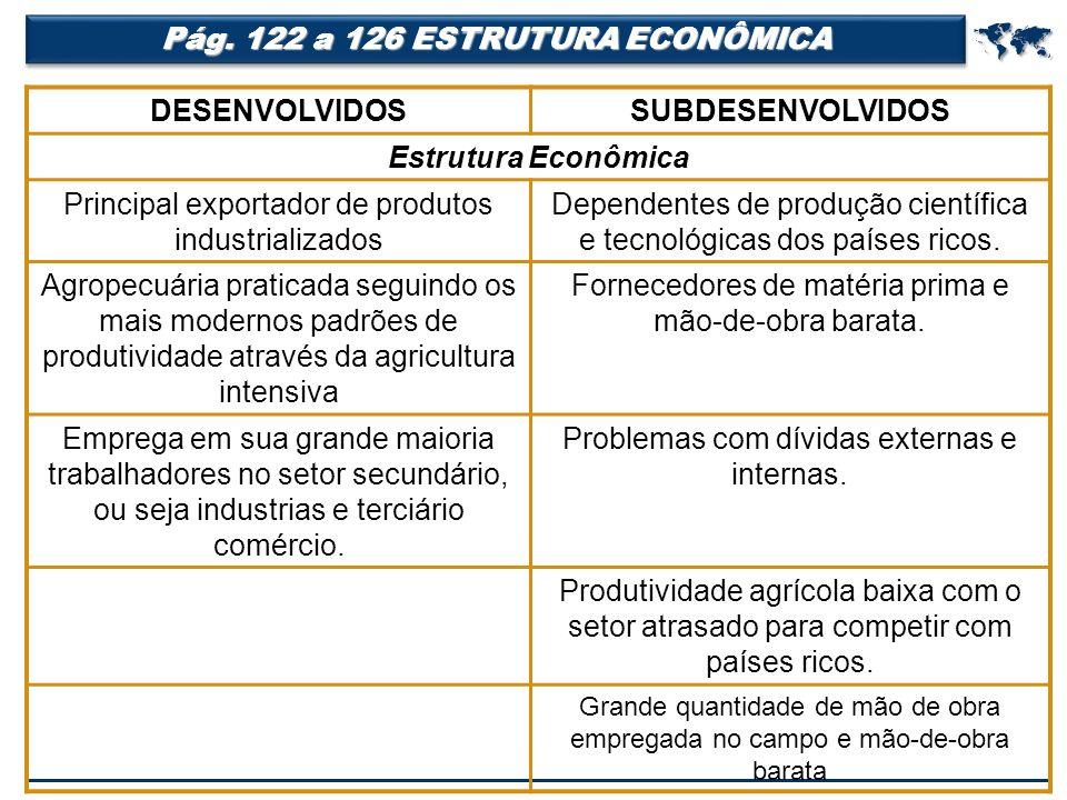  Pág. 122 a 126 ESTRUTURA ECONÔMICA DESENVOLVIDOS SUBDESENVOLVIDOS