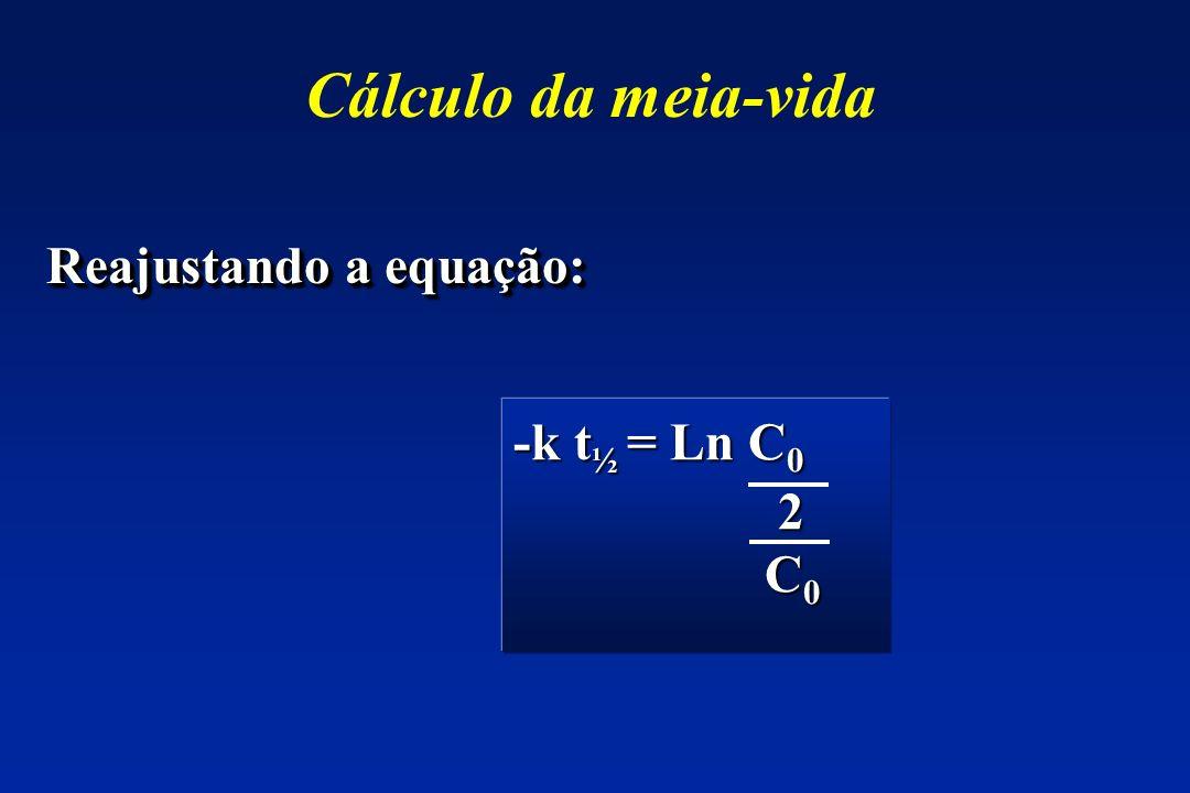Cálculo da meia-vida Reajustando a equação: -k t½ = Ln C0 2 C0
