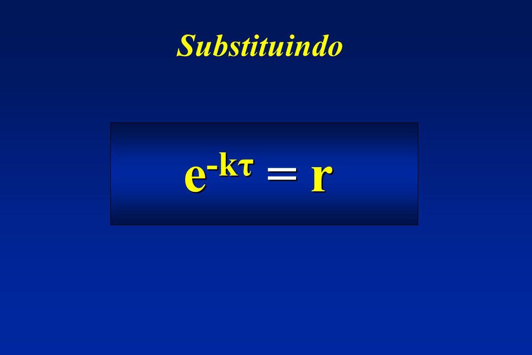 Substituindo e-kτ = r