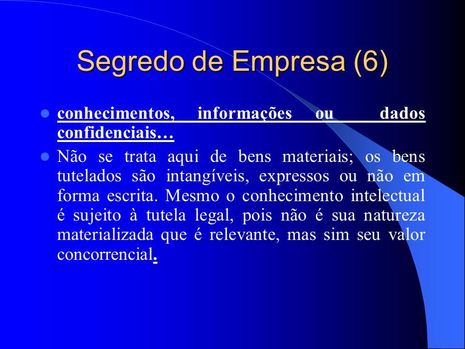 Segredo de Empresa (6) conhecimentos, informações ou dados confidenciais…