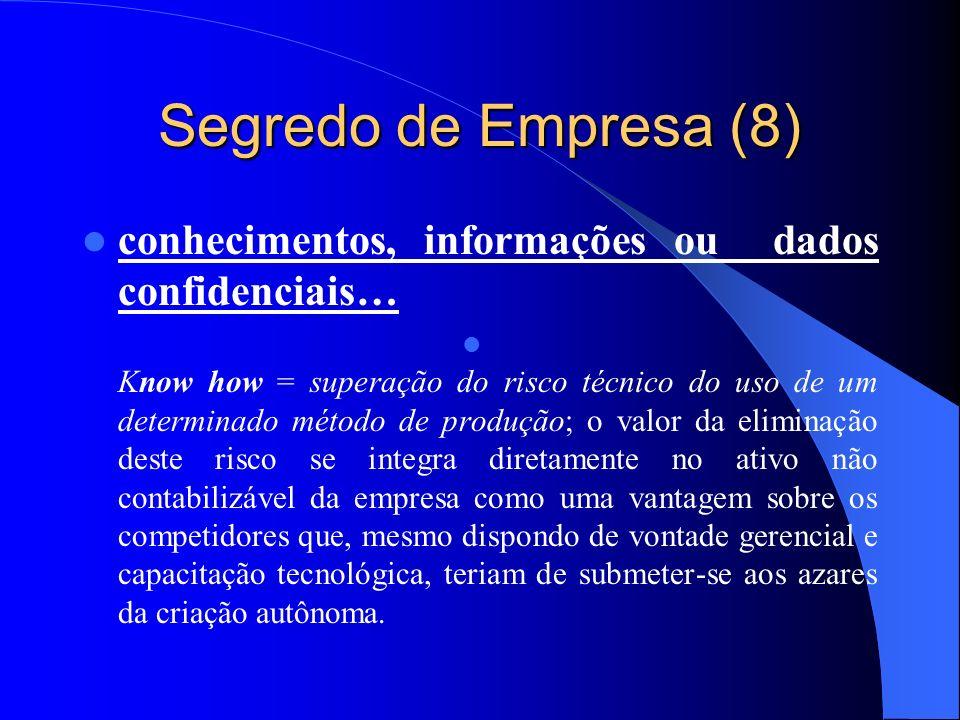 Segredo de Empresa (8) conhecimentos, informações ou dados confidenciais…