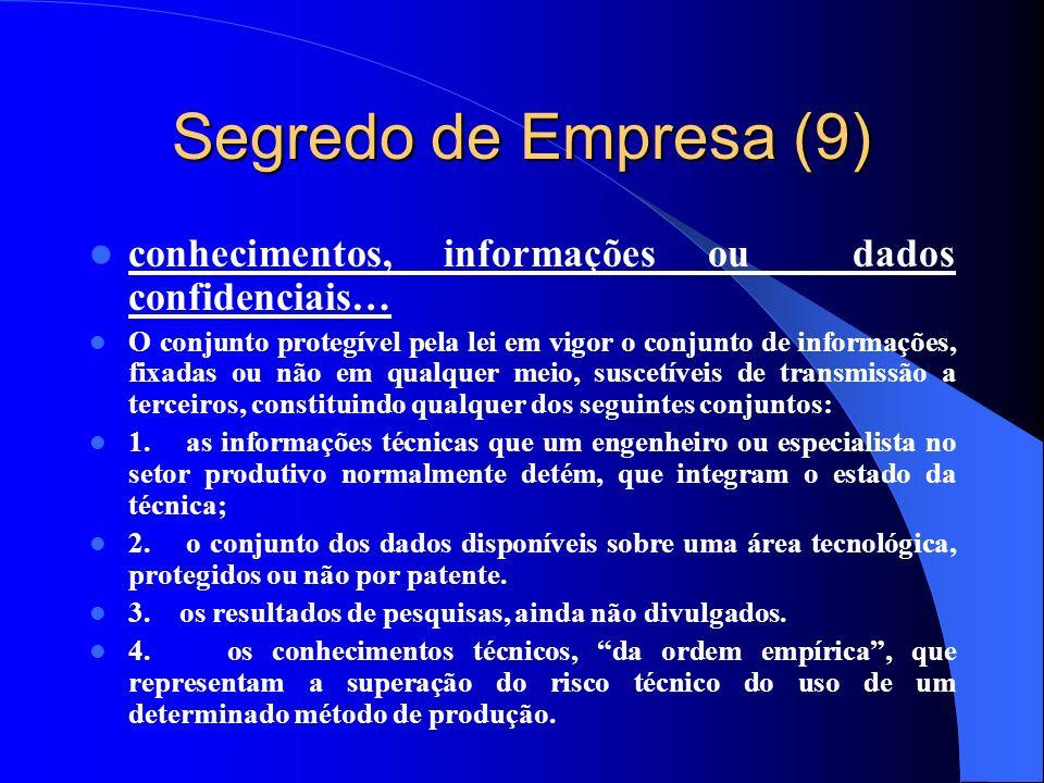 Segredo de Empresa (9) conhecimentos, informações ou dados confidenciais…