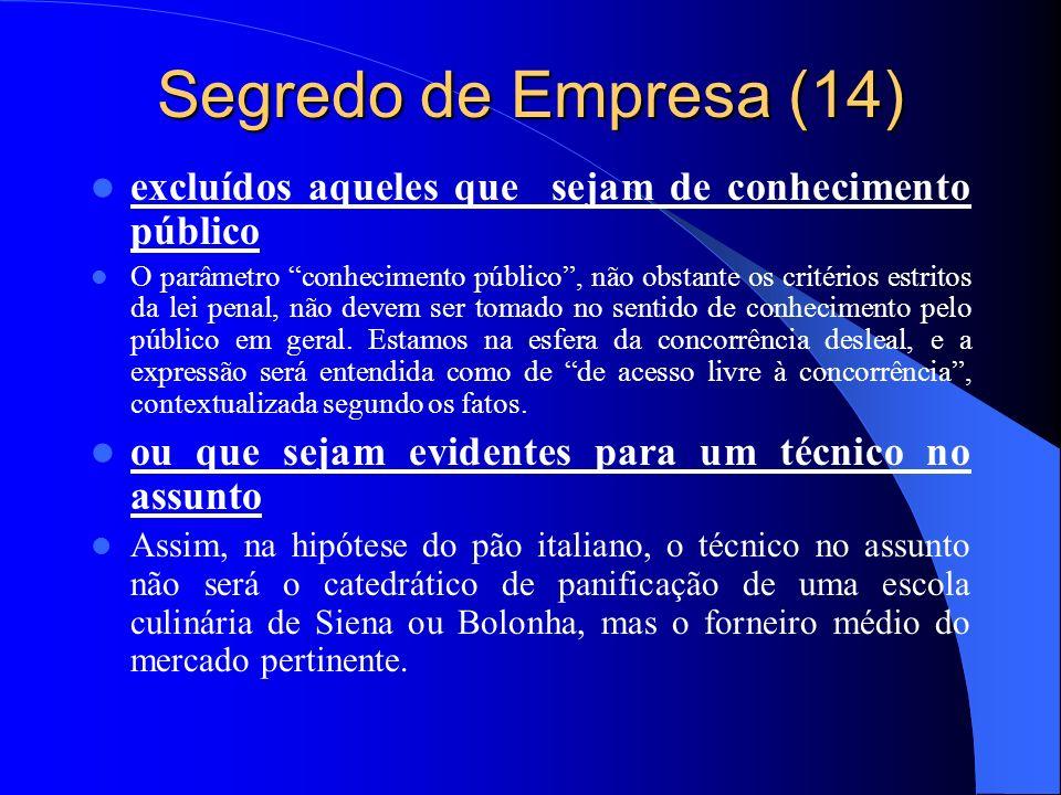 Segredo de Empresa (14) excluídos aqueles que sejam de conhecimento público.