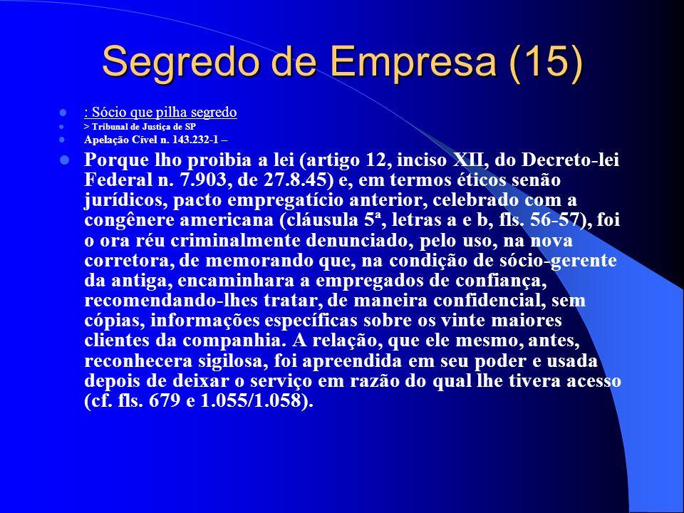Segredo de Empresa (15) : Sócio que pilha segredo. > Tribunal de Justiça de SP. Apelação Cível n. 143.232-1 –