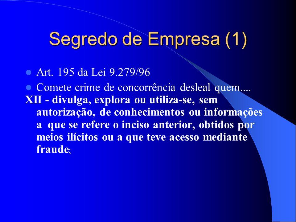 Segredo de Empresa (1) Art. 195 da Lei 9.279/96