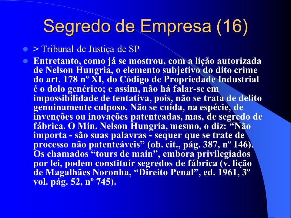 Segredo de Empresa (16) > Tribunal de Justiça de SP