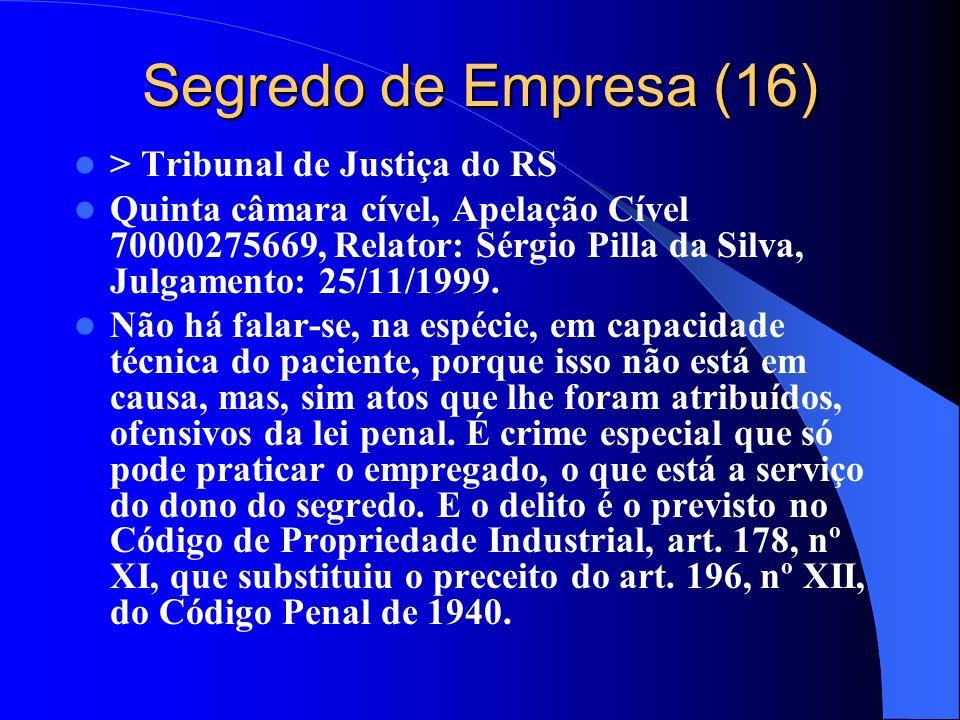 Segredo de Empresa (16) > Tribunal de Justiça do RS