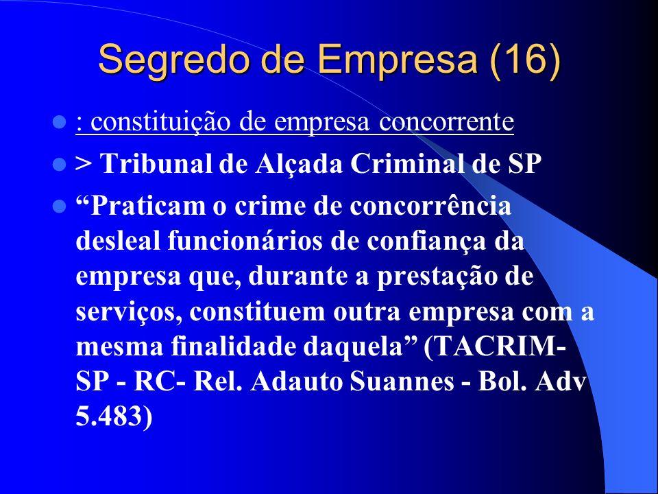 Segredo de Empresa (16) : constituição de empresa concorrente