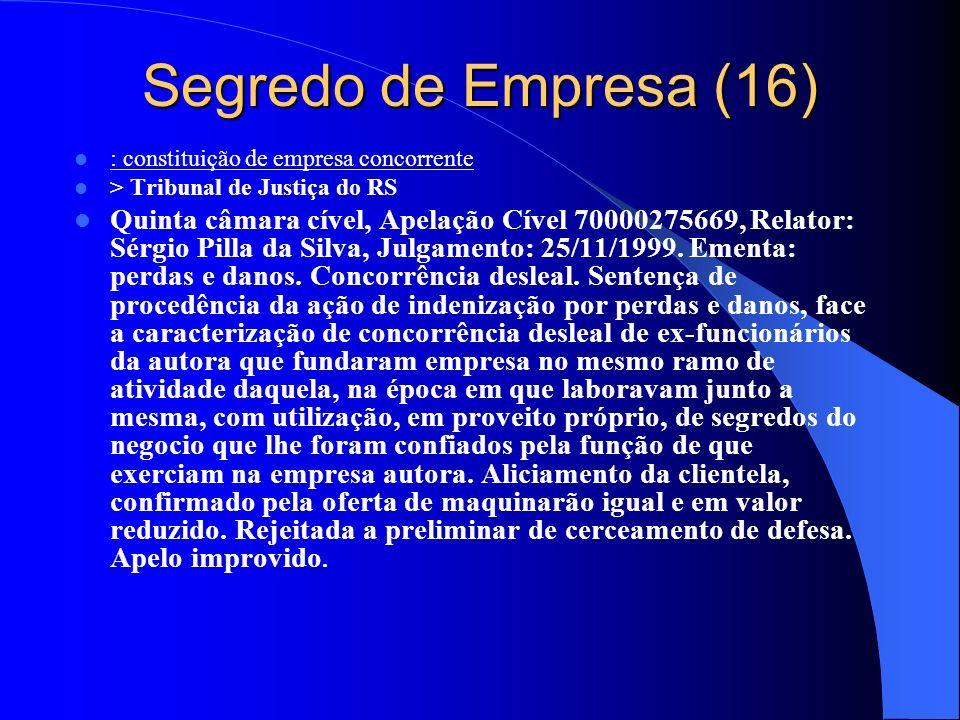 Segredo de Empresa (16) : constituição de empresa concorrente. > Tribunal de Justiça do RS.