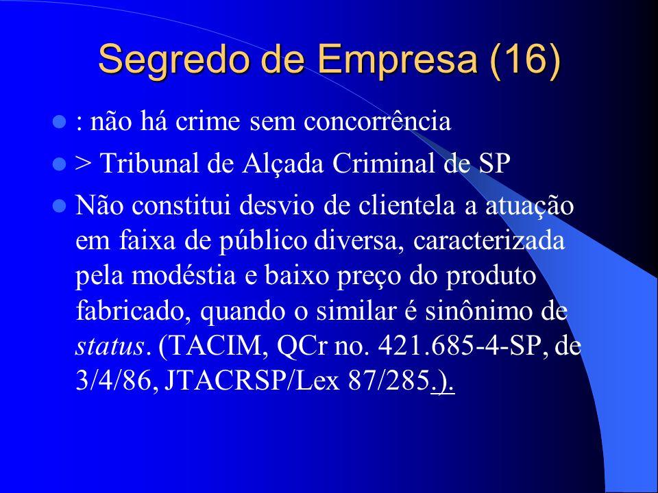 Segredo de Empresa (16) : não há crime sem concorrência
