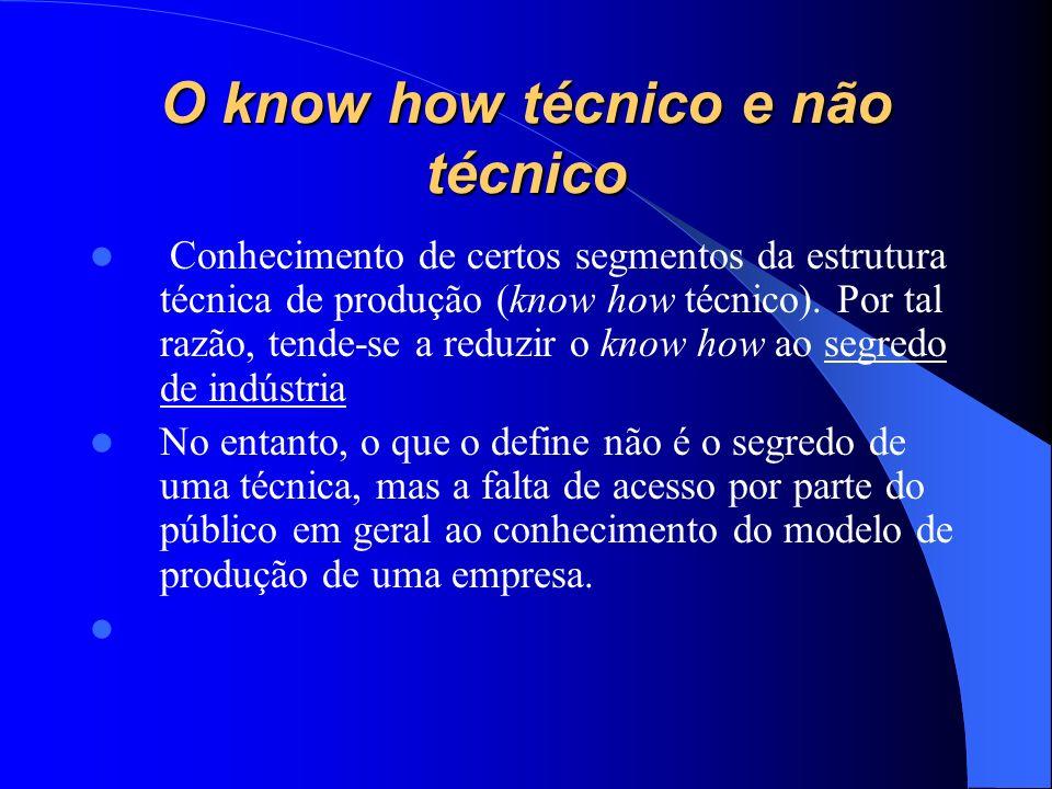 O know how técnico e não técnico