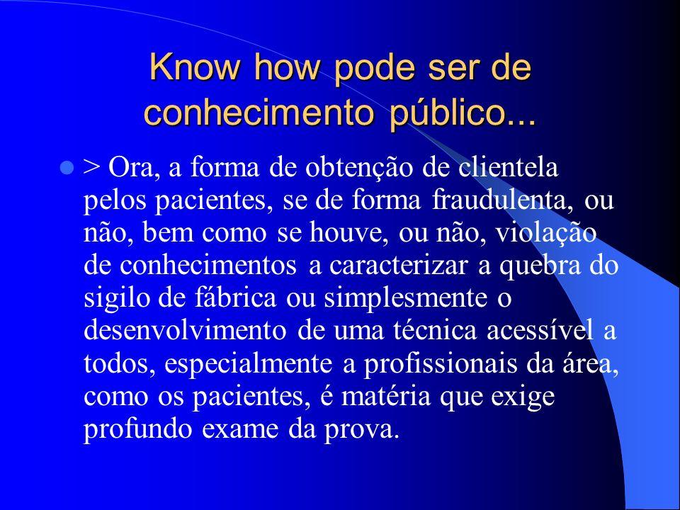 Know how pode ser de conhecimento público...