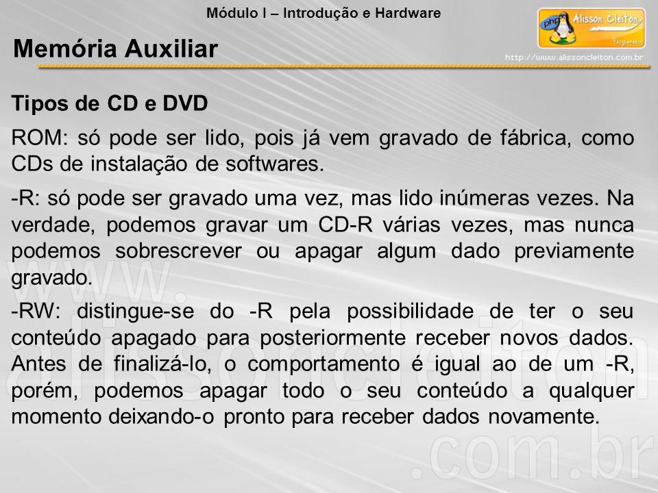 Memória Auxiliar Tipos de CD e DVD
