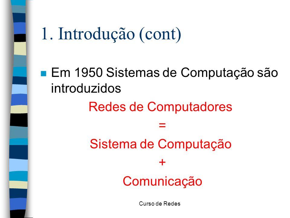 1. Introdução (cont) Em 1950 Sistemas de Computação são introduzidos