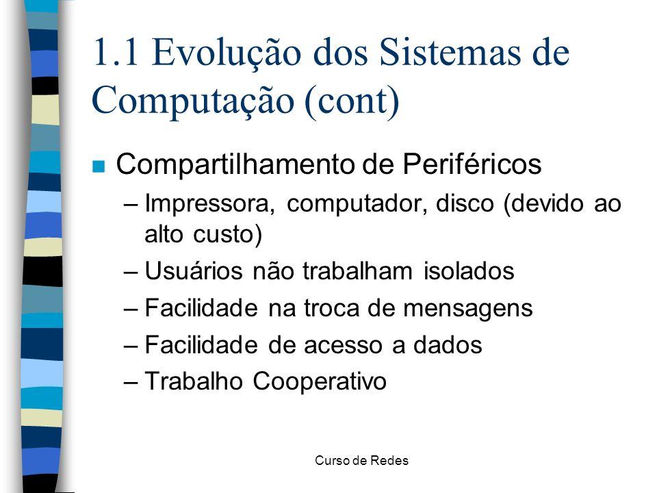 1.1 Evolução dos Sistemas de Computação (cont)