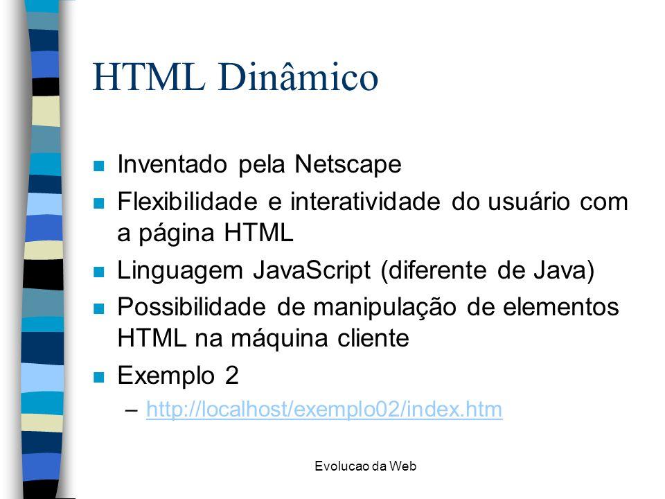HTML Dinâmico Inventado pela Netscape