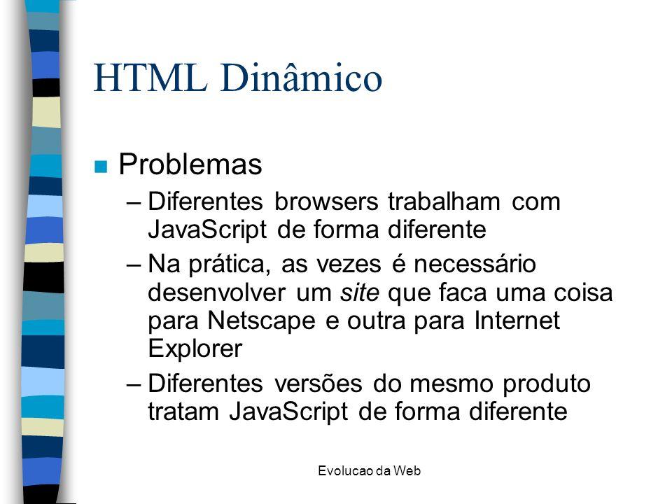 HTML Dinâmico Problemas