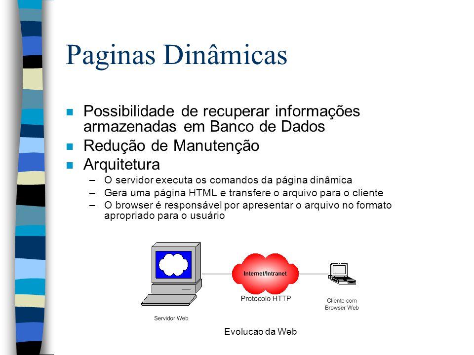 Paginas Dinâmicas Possibilidade de recuperar informações armazenadas em Banco de Dados. Redução de Manutenção.