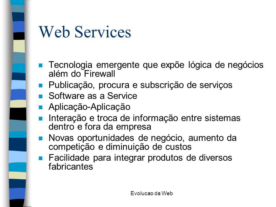 Web Services Tecnologia emergente que expõe lógica de negócios além do Firewall. Publicação, procura e subscrição de serviços.