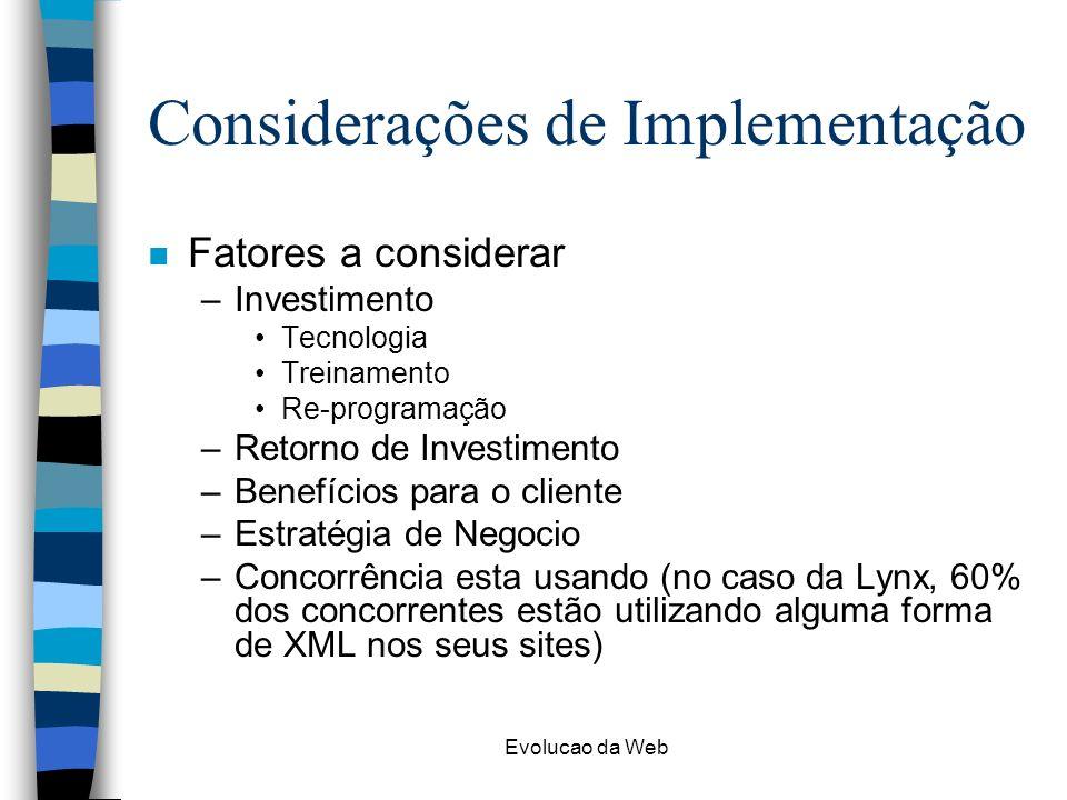 Considerações de Implementação