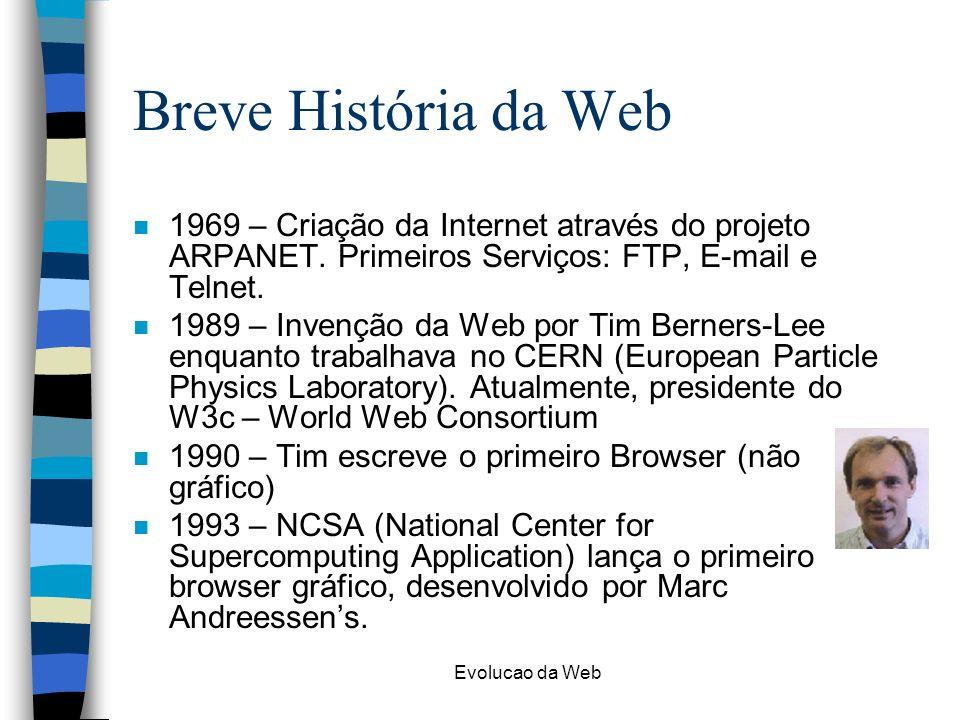 Breve História da Web 1969 – Criação da Internet através do projeto ARPANET. Primeiros Serviços: FTP, E-mail e Telnet.