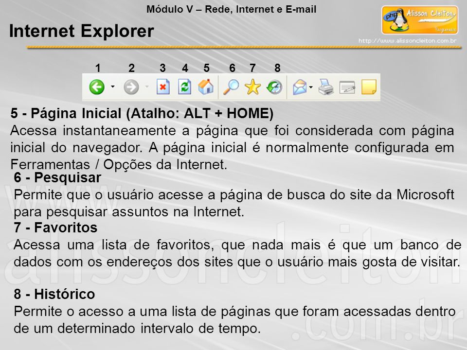 Internet Explorer 5 - Página Inicial (Atalho: ALT + HOME)