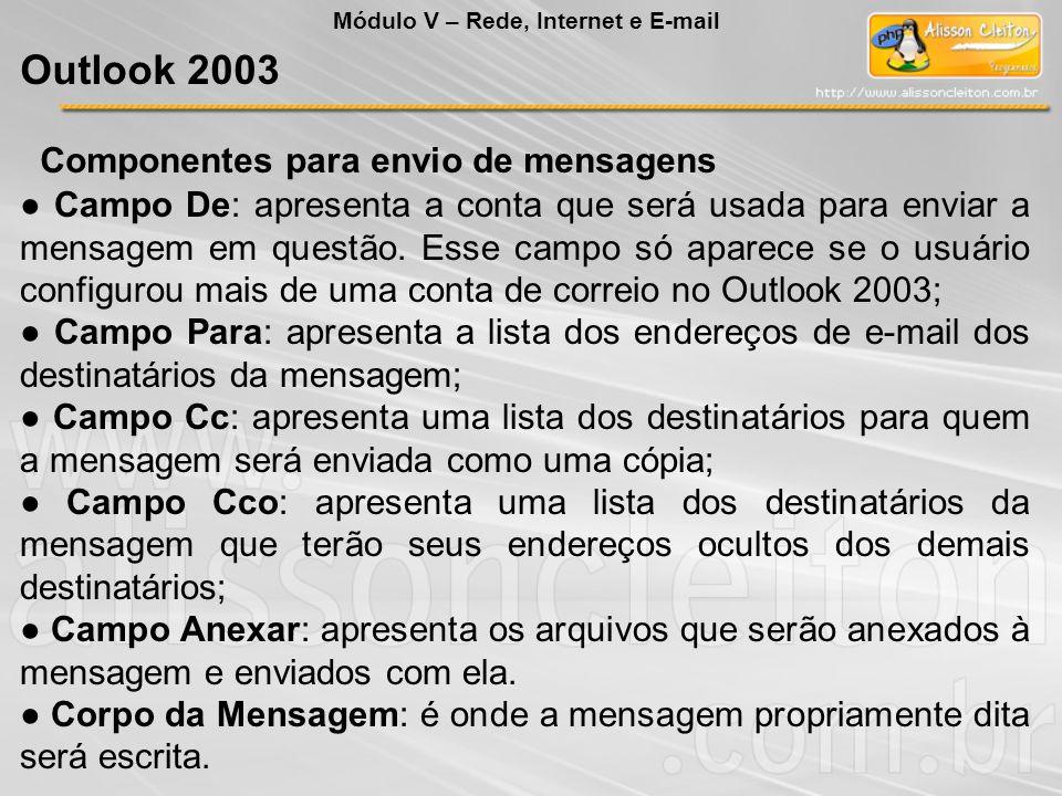 Outlook 2003 Componentes para envio de mensagens