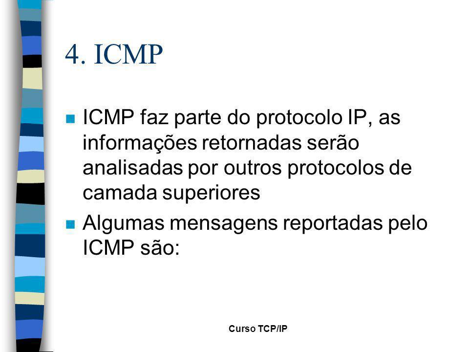 4. ICMP ICMP faz parte do protocolo IP, as informações retornadas serão analisadas por outros protocolos de camada superiores.