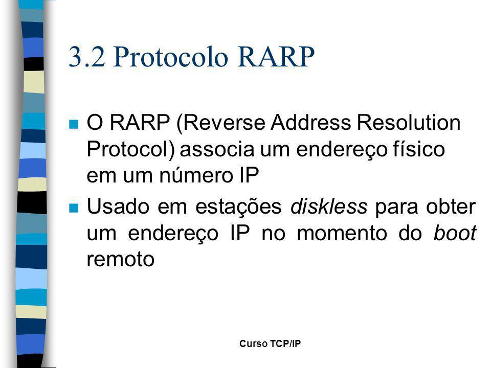 3.2 Protocolo RARP O RARP (Reverse Address Resolution Protocol) associa um endereço físico em um número IP.