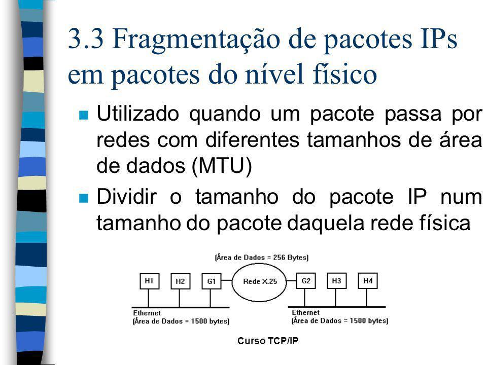 3.3 Fragmentação de pacotes IPs em pacotes do nível físico