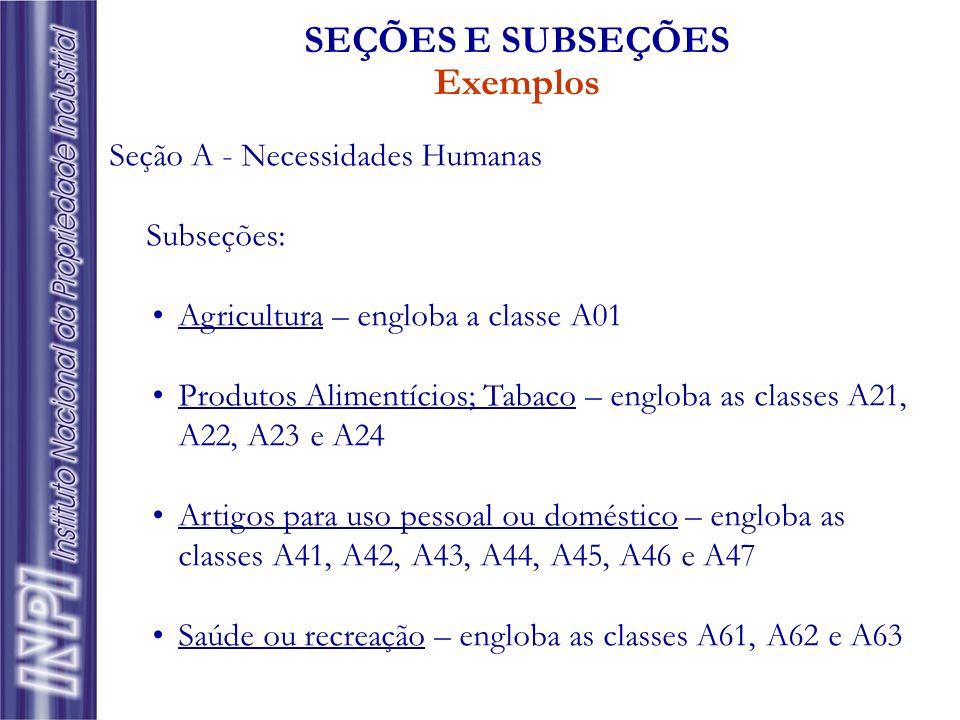 SEÇÕES E SUBSEÇÕES Exemplos