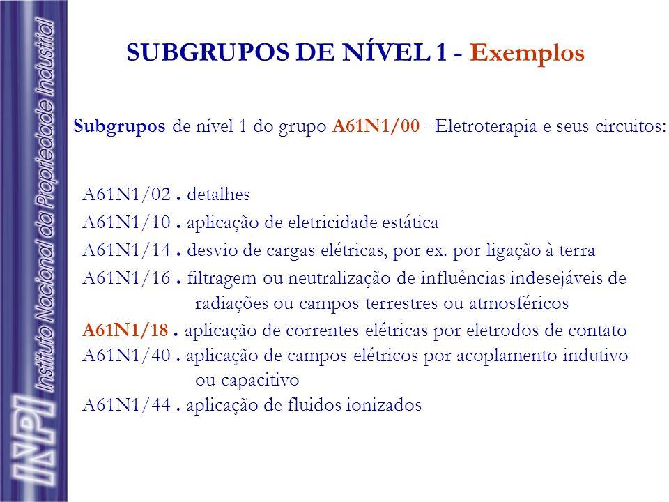SUBGRUPOS DE NÍVEL 1 - Exemplos