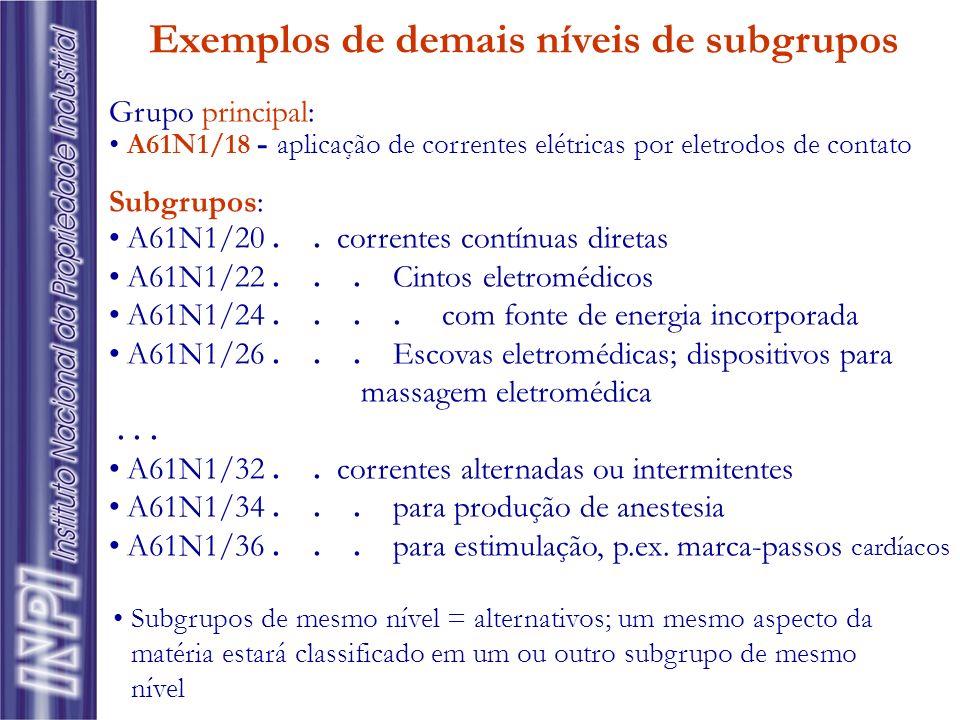 Exemplos de demais níveis de subgrupos