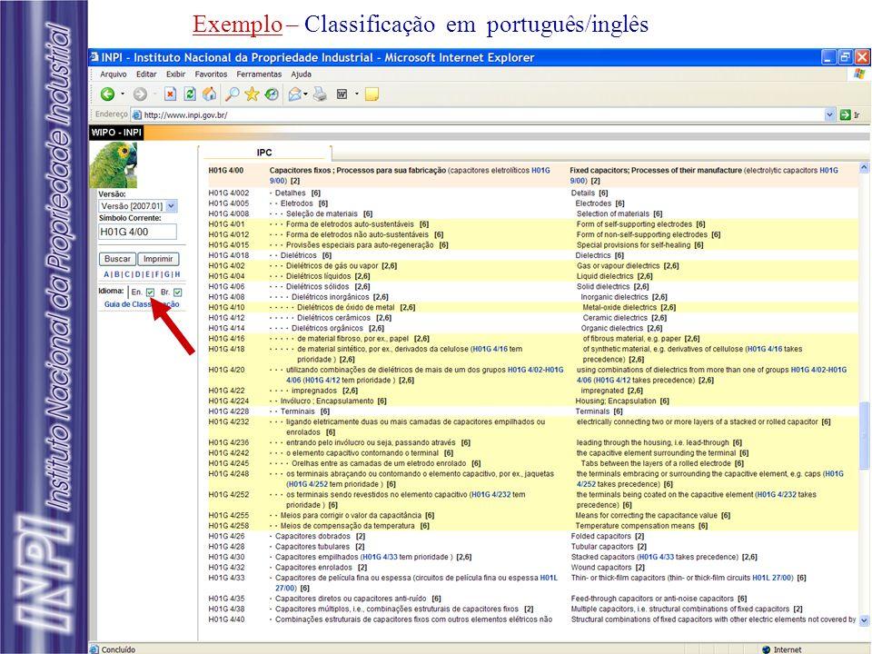 Exemplo – Classificação em português/inglês