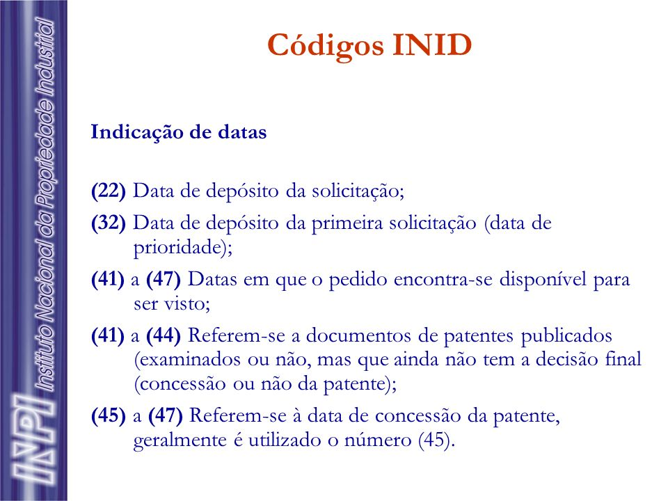 Códigos INID Indicação de datas (22) Data de depósito da solicitação;