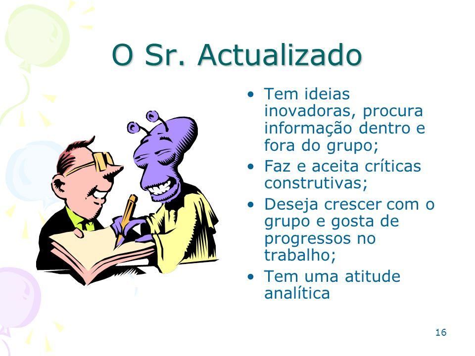 O Sr. Actualizado Tem ideias inovadoras, procura informação dentro e fora do grupo; Faz e aceita críticas construtivas;
