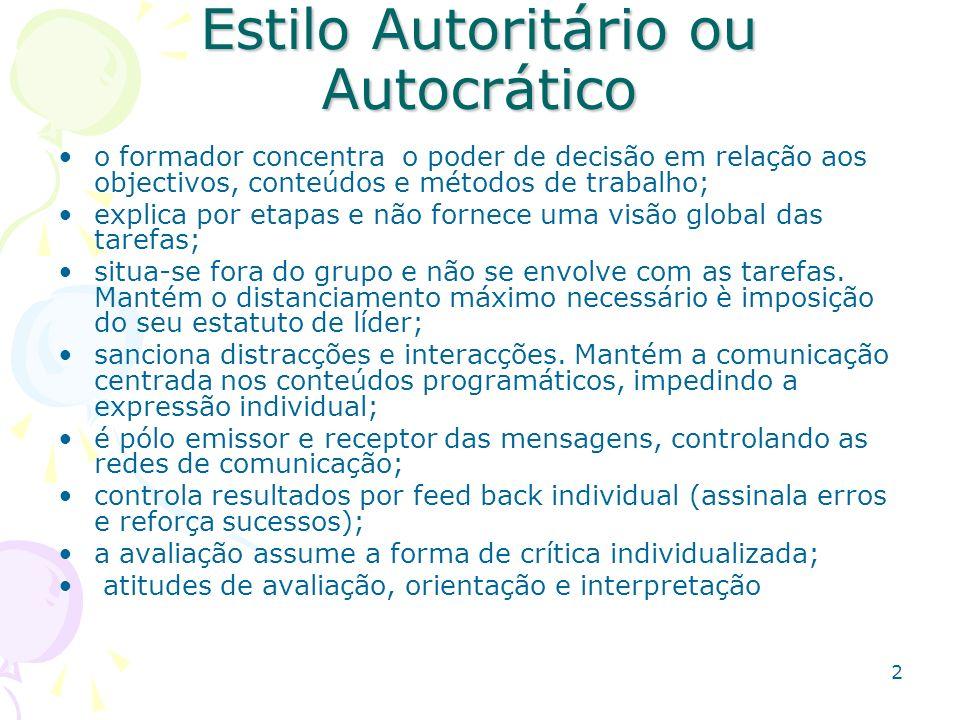 Estilo Autoritário ou Autocrático