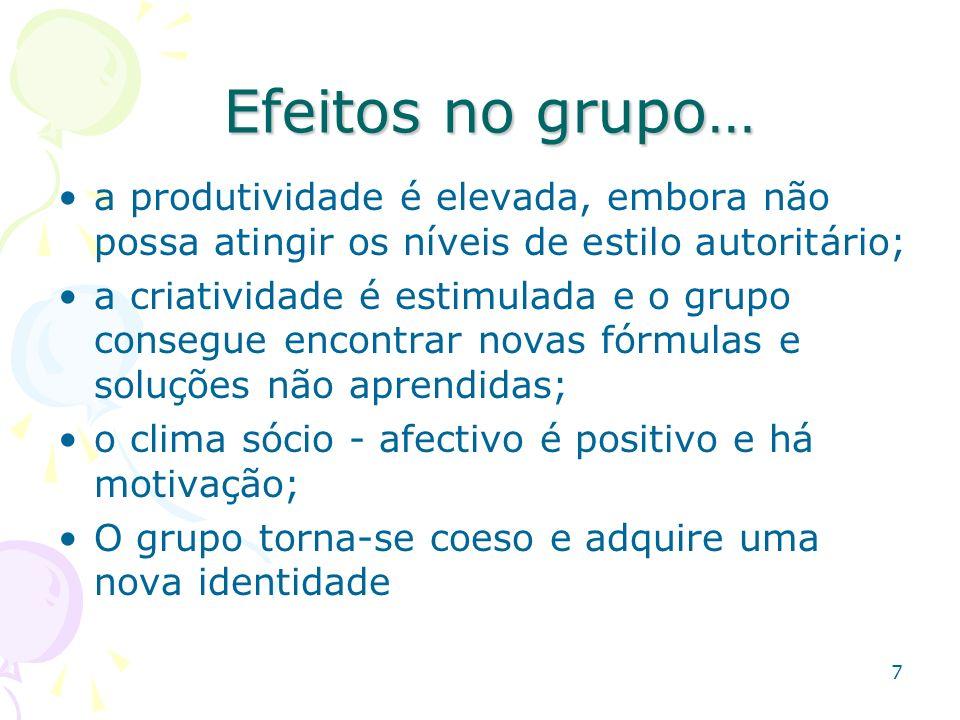 Efeitos no grupo… a produtividade é elevada, embora não possa atingir os níveis de estilo autoritário;
