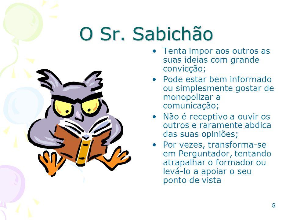 O Sr. Sabichão Tenta impor aos outros as suas ideias com grande convicção;