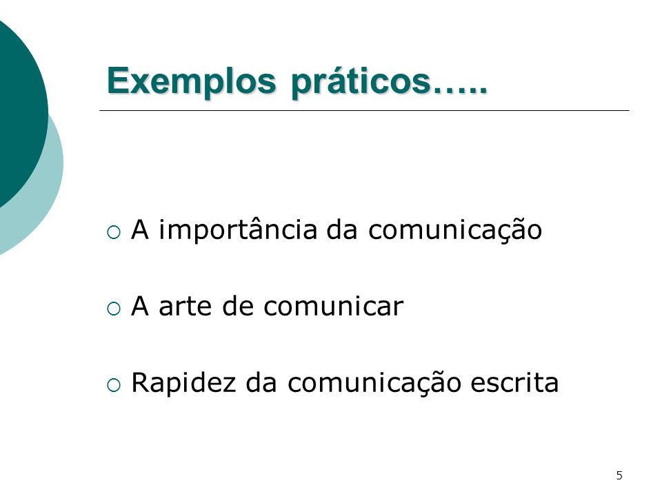 Exemplos práticos….. A importância da comunicação A arte de comunicar