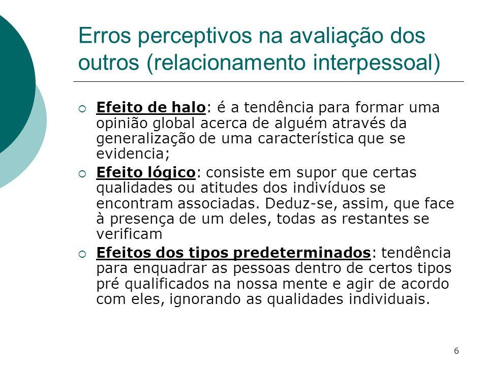 Erros perceptivos na avaliação dos outros (relacionamento interpessoal)