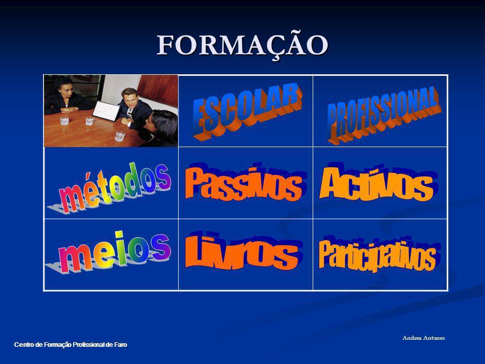 FORMAÇÃO ESCOLAR PROFISSIONAL métodos Passivos Activos meios Livros