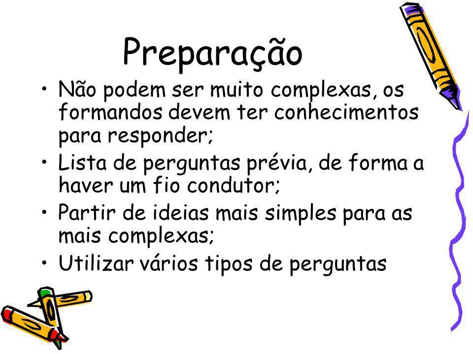 PreparaçãoNão podem ser muito complexas, os formandos devem ter conhecimentos para responder;