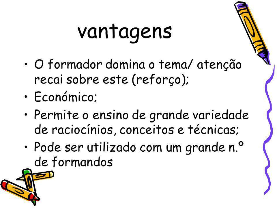 vantagens O formador domina o tema/ atenção recai sobre este (reforço); Económico;