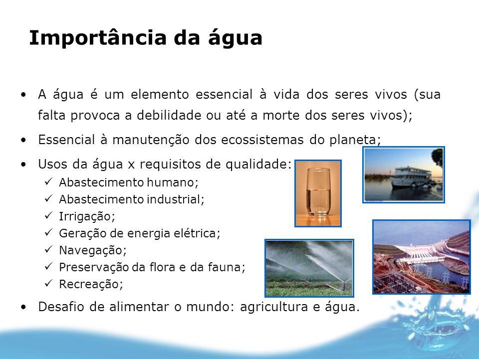 Importância da água A água é um elemento essencial à vida dos seres vivos (sua falta provoca a debilidade ou até a morte dos seres vivos);