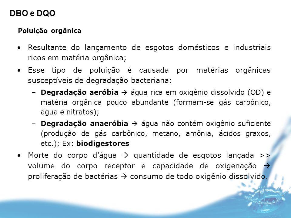 DBO e DQO Poluição orgânica. Resultante do lançamento de esgotos domésticos e industriais ricos em matéria orgânica;