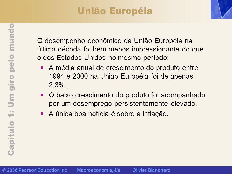 União EuropéiaO desempenho econômico da União Européia na última década foi bem menos impressionante do que o dos Estados Unidos no mesmo período:
